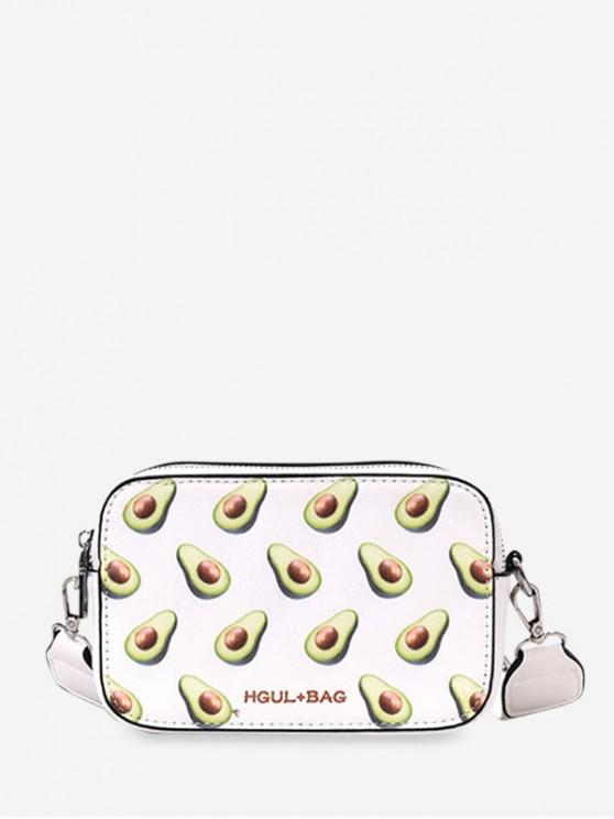 ladies Zipper Fruit Pattern Mini Crossbody Bag - WHITE