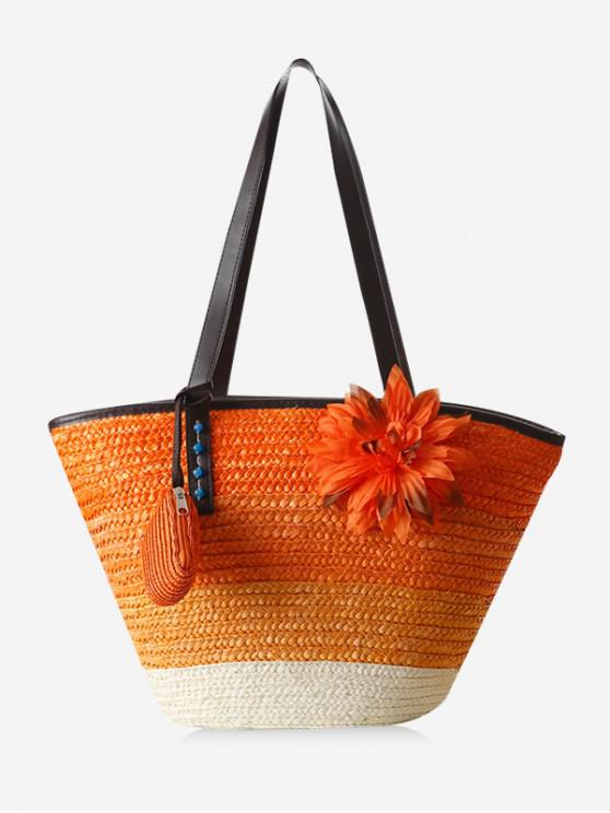 hot Floral Decor Color Block Straw Shoulder Bag - PAPAYA ORANGE