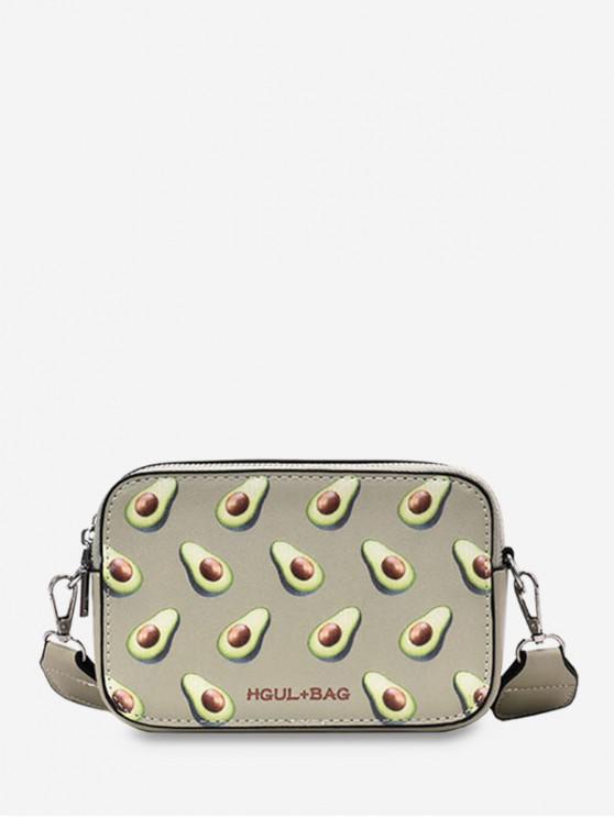 Mini sac à bandoulière à motif fruits zipper - Vert Avocat