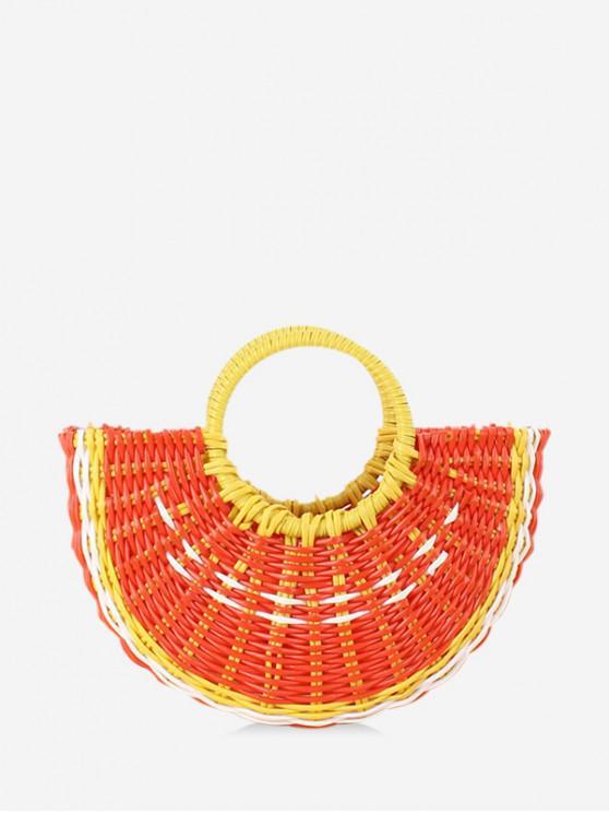 latest Cute Woven Plastic Semicircle Handbag - PAPAYA ORANGE