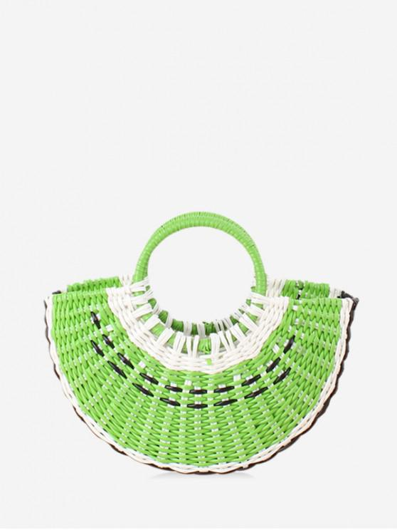 fancy Cute Woven Plastic Semicircle Handbag - YELLOW GREEN