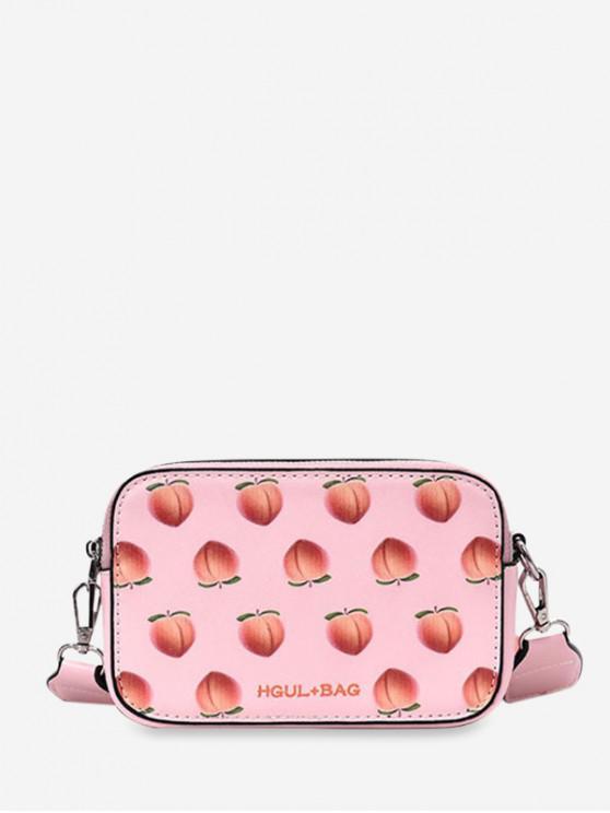 womens Zipper Fruit Pattern Mini Crossbody Bag - ORANGE PINK