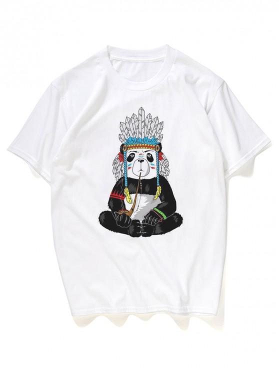 outfits Ethnic Tribal Panda Graphic Print T-shirt - WHITE L