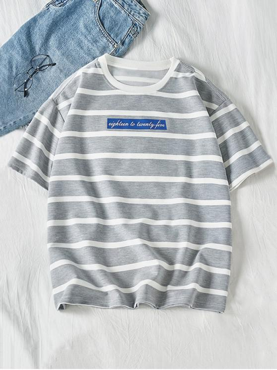 women Letter Striped Graphic Print Short Sleeves T-shirt - GRAY GOOSE L