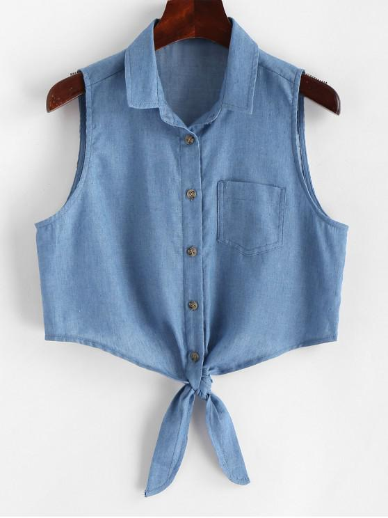 ZAFUL Button Up Tie Front Chambray Tank Top - Azul de Jeans  L