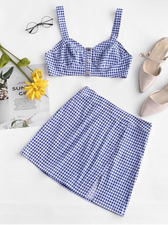 chic ZAFUL Snap-button Gingham Two Piece Dress - BLUEBERRY BLUE M
