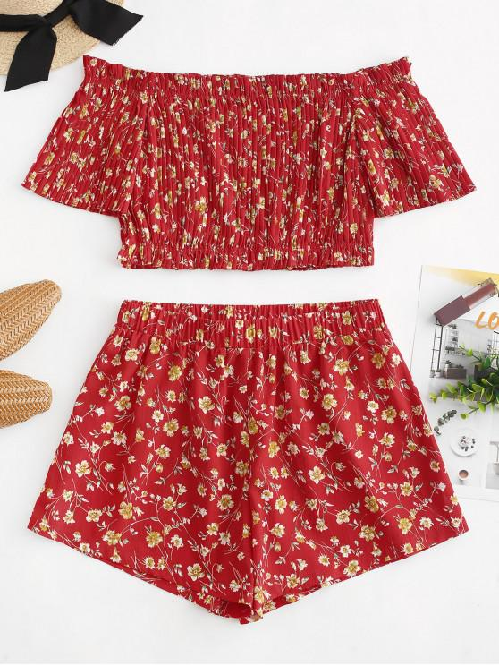 lady ZAFUL Off Shoulder Floral Pleated Top and Shorts Set - LAVA RED S