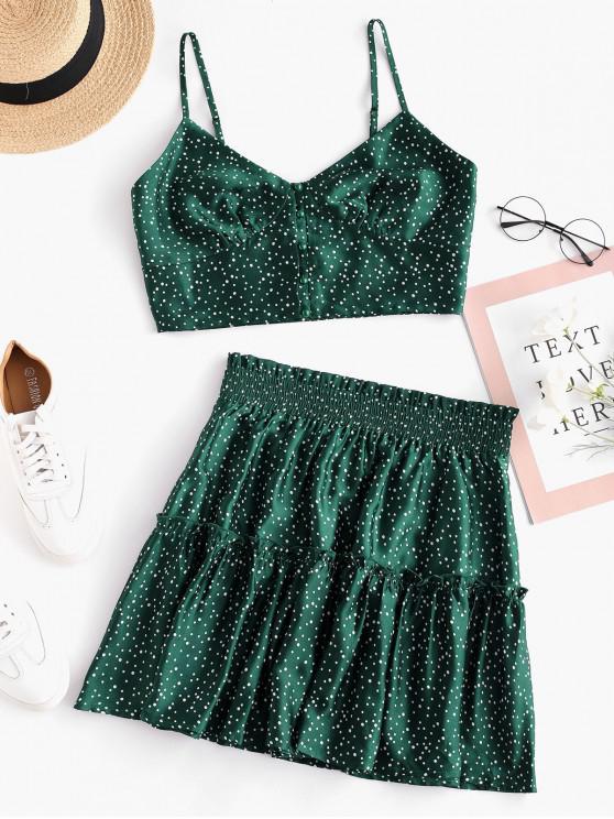 sale ZAFUL Polka Dot Buttoned Paperbag Skirt Set - MEDIUM SEA GREEN S