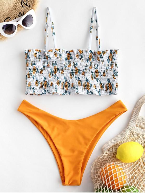 ZAFUL صغيرة الأزهار Smocked Bralette بيكيني ملابس السباحة - أصفر فاقع M