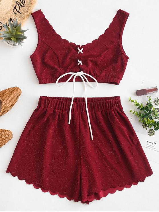 outfit ZAFUL Scalloped Shiny Lace Up Top And Shorts Set - RED WINE M