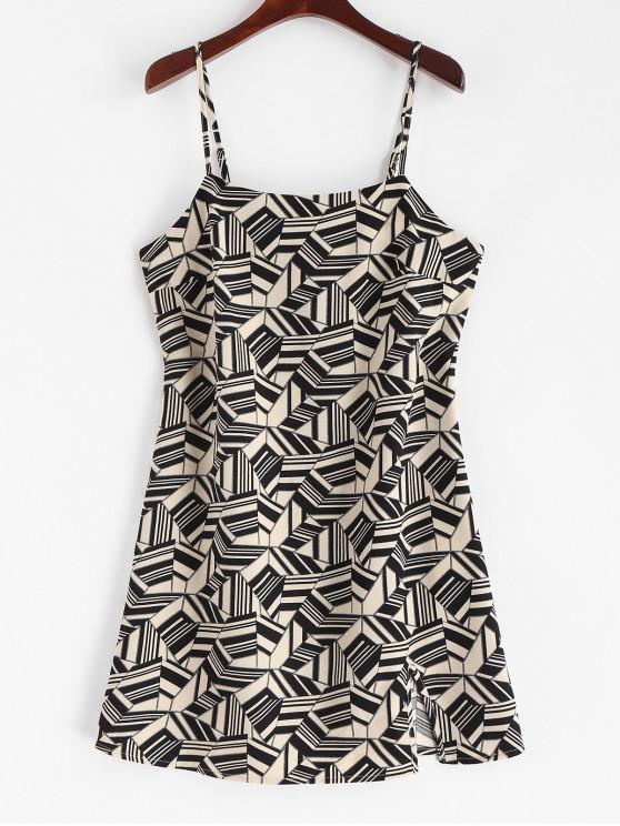 shops ZAFUL Mini Geometric Slit Fitted Cami Dress - MILK WHITE L