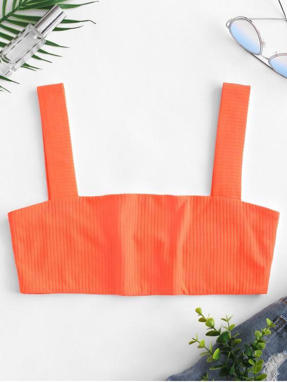 Top sin mangas con cuello cuadrado y canalé acanalado - Naranja de Halloween L