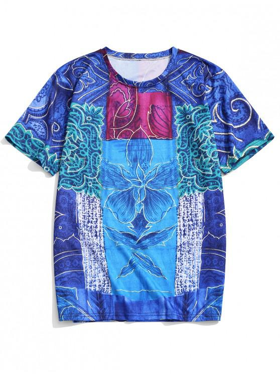 sale Short Sleeves Tribal Flower Print Graphic T-shirt - DENIM DARK BLUE M