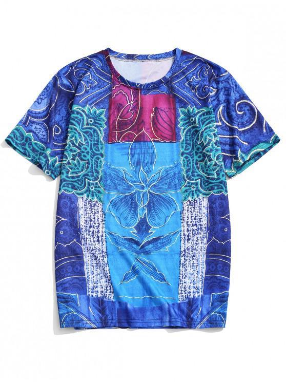 buy Short Sleeves Tribal Flower Print Graphic T-shirt - DENIM DARK BLUE XL