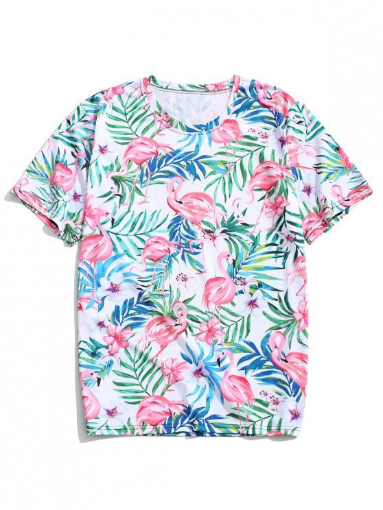 women's Hawaii Plant Flamingo Print Beach T-shirt - WHITE L