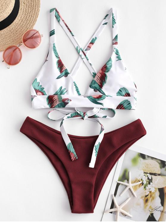 new ZAFUL Bird Criss Cross Ribbed Bikini Set - RED WINE S