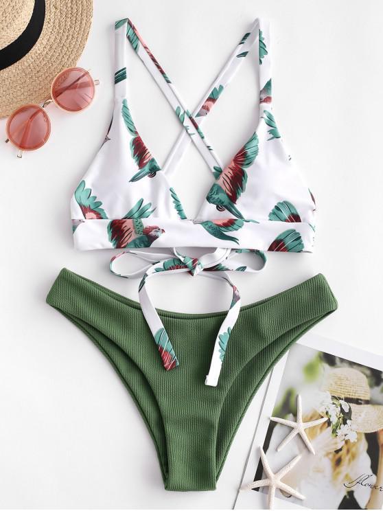 trendy ZAFUL Bird Criss Cross Ribbed Bikini Set - HAZEL GREEN S