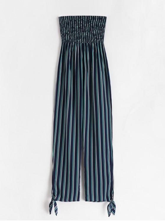trendy ZAFUL Shirred Split Striped Strapless Jumpsuit - MIDNIGHT BLUE M