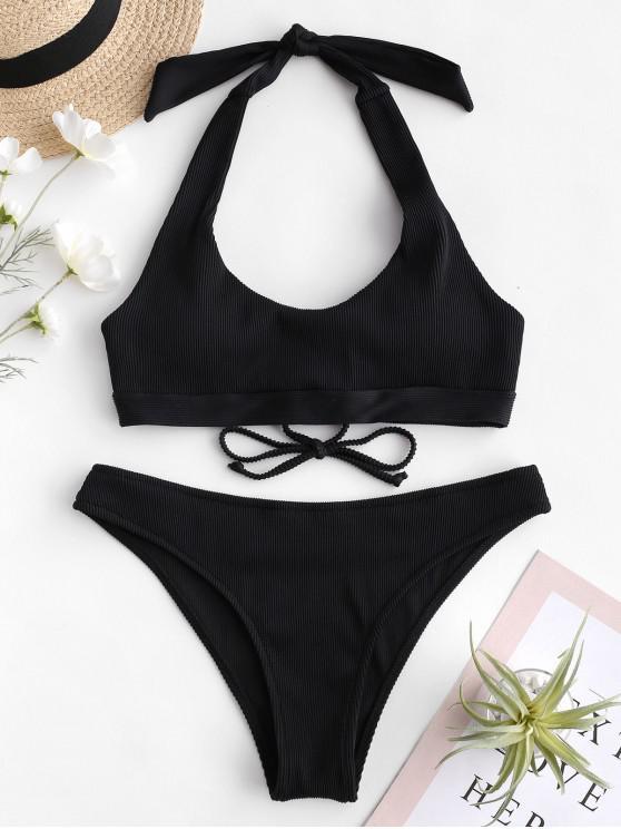 outfits ZAFUL Ribbed Lace-up Halter Bikini Set - BLACK M