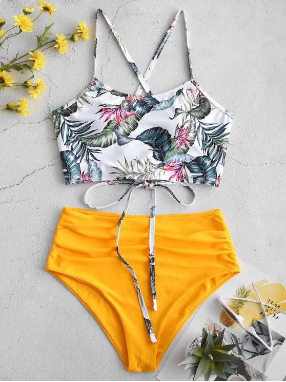 online ZAFUL Palm Floral Lace Up Tummy Control Tankini Set - MULTI-B S