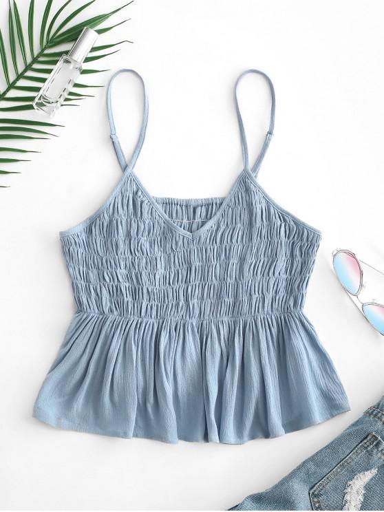 trendy ZAFUL Shirred Peplum Crop Camisole - LIGHT SKY BLUE S