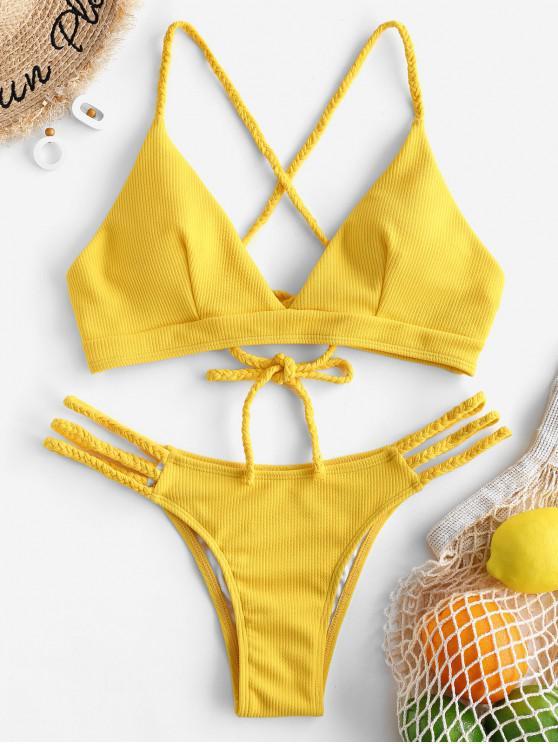 ZAFUL مضلع مضفر الدانتيل يصل ملابس السباحة بيكيني - الأصفر M