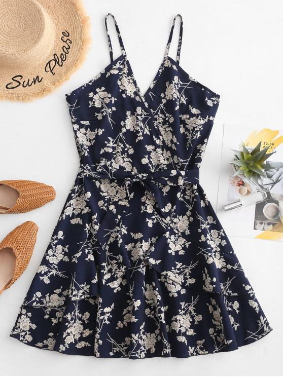 trendy Cami Floral Belted Flounce Dress - DEEP BLUE M