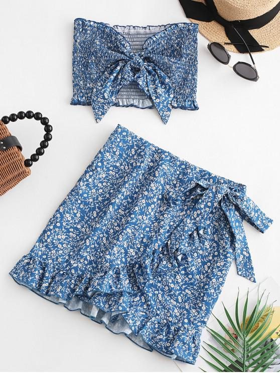 lady Floral Smocked Bandeau Top And Ruffles Skirt Set - BLUE S