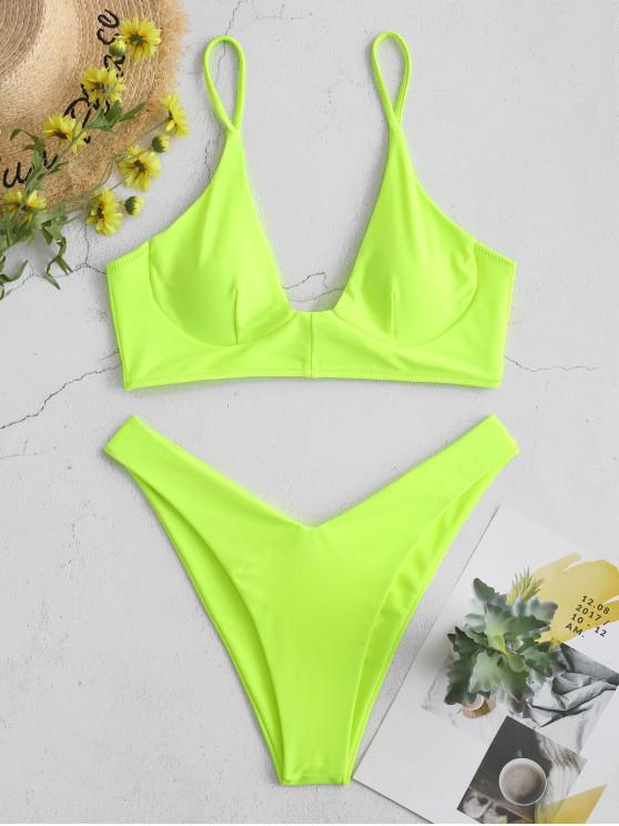Bikini de neón con aros ZAFUL - Verde Amarillo L