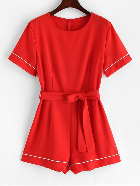 hot Contrast Short Sleeve Belted Romper - RED M