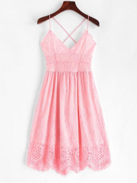 fancy Lace Criss Cross Cami Dress - PINK L