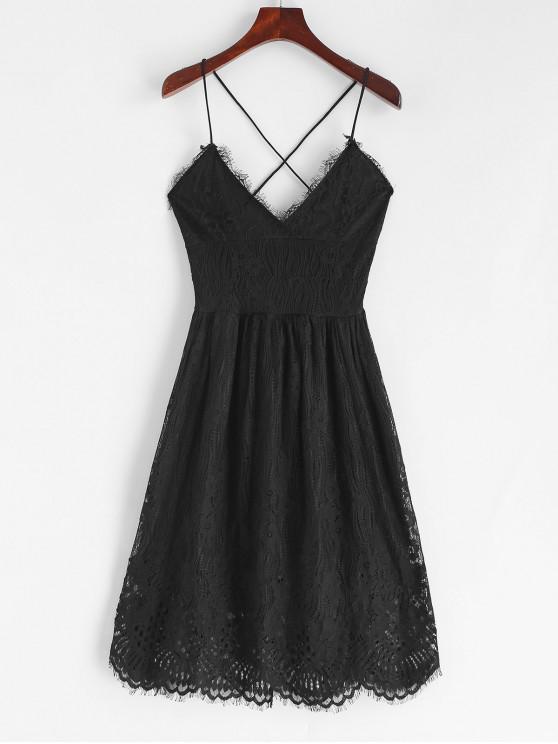 womens Lace Criss Cross Cami Dress - BLACK S
