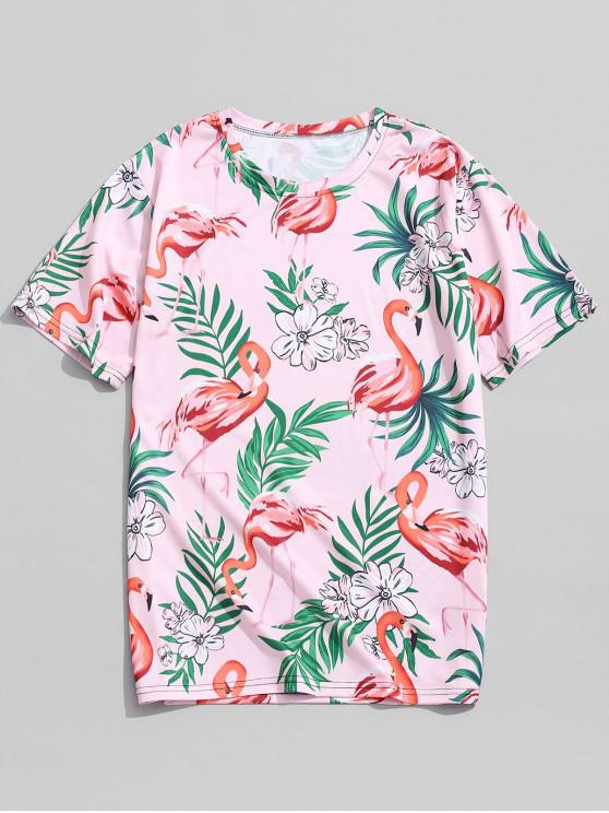 chic Tropical Flower Leaf Flamingo Print Hawaii Tee - PINK 4XL