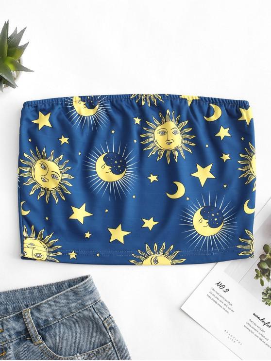 Haut Bandeau Etoile Lune et Soleil Imprimés - Bleu Océan L