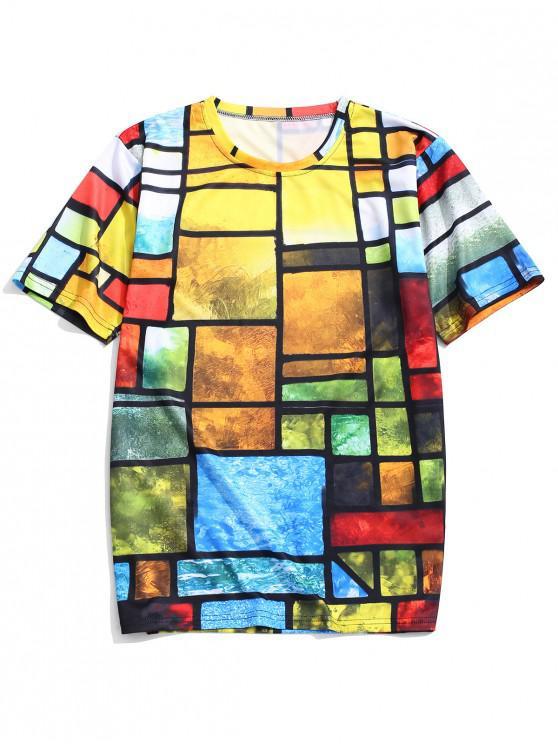 unique Colorful Painting Geometric Print Beach T-shirt - MULTI-A 4XL