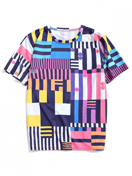 ladies Colorful Geometric Print Graphic T-shirt - MULTI-A M