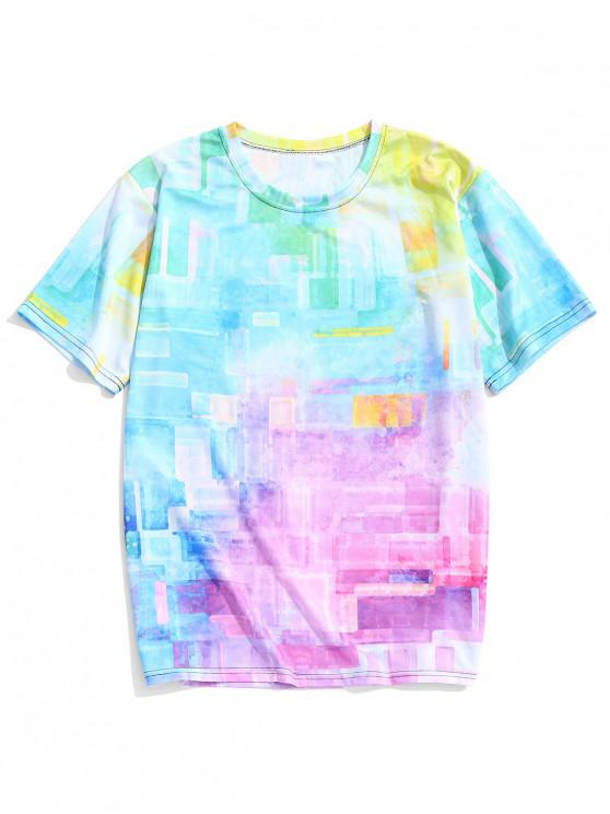 lady Ombre Geometric Print Short Sleeves Casual T-shirt - MULTI-A M
