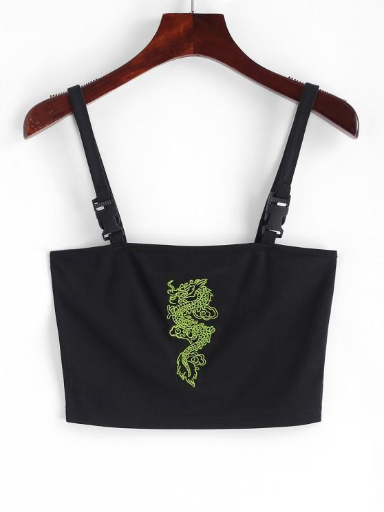 shops Dragon Embroidered Buckle Straps Tank Top - BLACK S