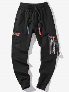 Zipper Decoration Letter Pattern Jogger Pants - Black S