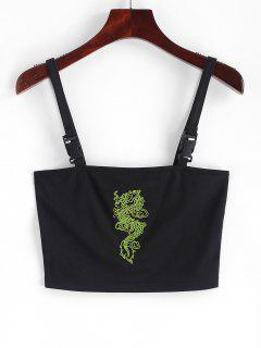 Dragon Embroidered Buckle Straps Tank Top - Black M