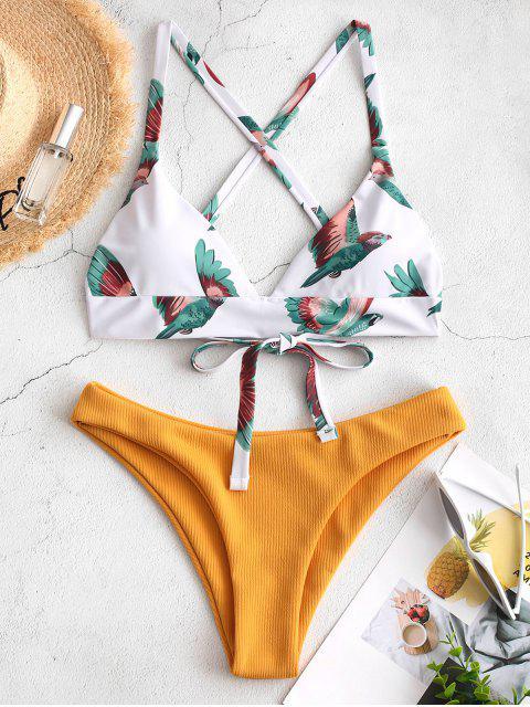 women ZAFUL Bird Criss Cross Ribbed Bikini Set - MULTI-A M Mobile