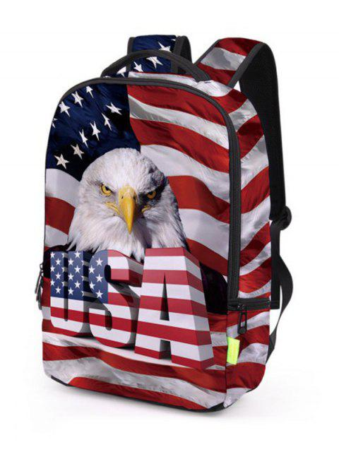 best Creative American Flag Patriotic Pattern Backpack - CHESTNUT RED  Mobile