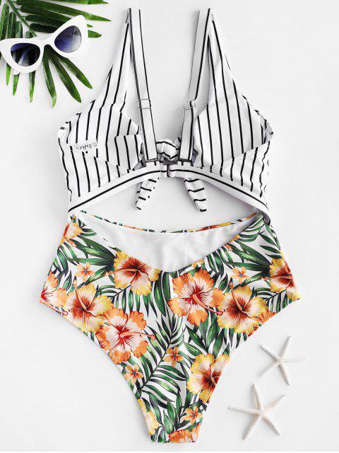 ZAFUL Striped Flower Tied Monokini traje de baño - Multicolor-A L Mobile