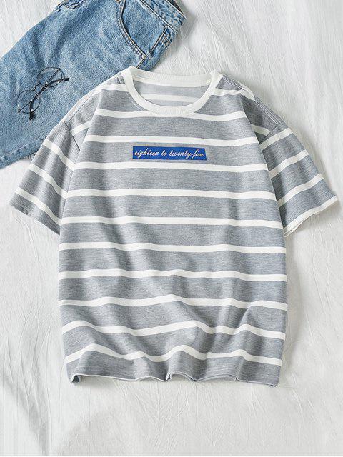 Camiseta de manga corta con estampado gráfico con letras a rayas - Ganso Gris L Mobile