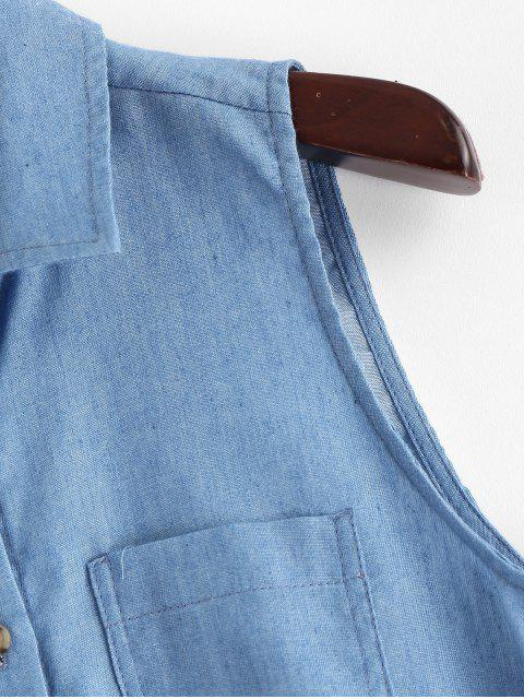 buy ZAFUL Button Up Tie Front Chambray Tank Top - JEANS BLUE L Mobile