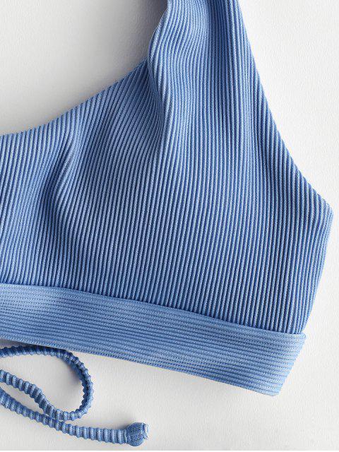 shop ZAFUL Ribbed Lace-up Halter Bikini Set - DENIM BLUE M Mobile