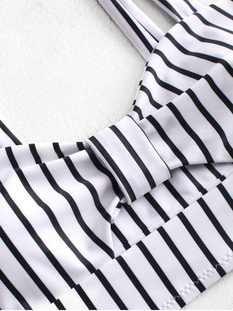 women ZAFUL Knot Striped High Waisted Tankini Set - WHITE S Mobile