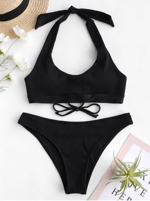 outfits ZAFUL Ribbed Lace-up Halter Bikini Set - BLACK M Mobile
