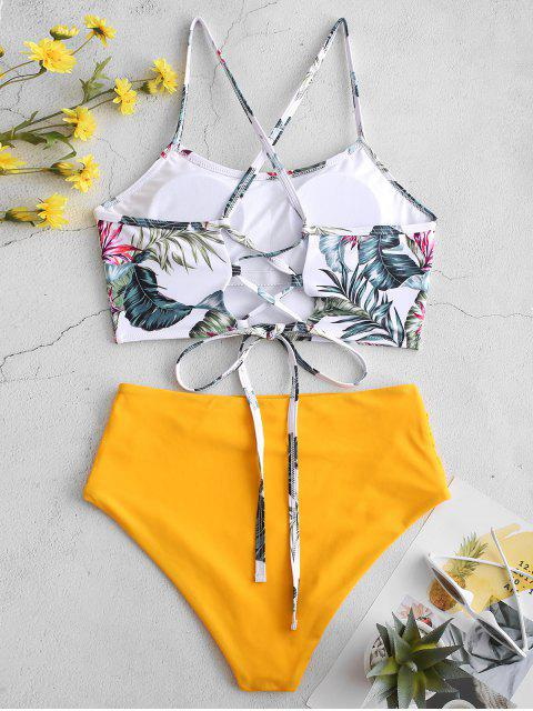 fashion ZAFUL Palm Floral Lace Up Tummy Control Tankini Set - MULTI-B L Mobile