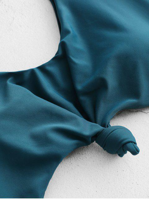 ZAFUL Knot Palm Leaf Cut Out Swimsuit - Azul pavão XL Mobile